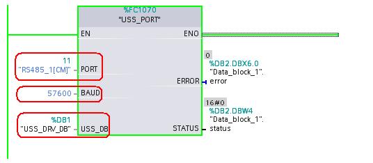 Hình 7: Lập trình Khối chức năng tham số giao diện truyền thông USS